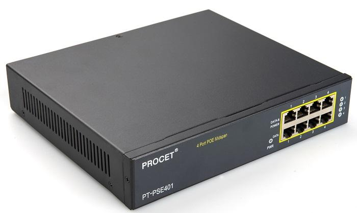 PT-PSE401G-AT 4-port Gigabit 30W PoE Midspan