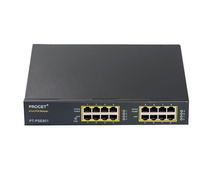 PT-PSE801G-AT 8-port PoE Midspan