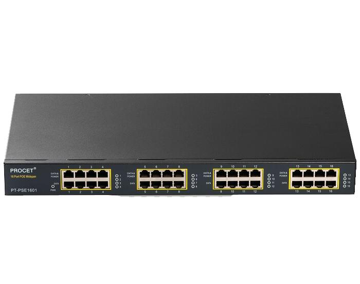 PT-PSE1601G-AT 16-port PoE Midspan